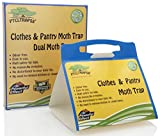 Dual Moth Traps For Clothes and Pantry Highly Effective ALL-AROUND MOTH TRAPS,Pro Cloest Essentials Get Rid Of Wool Moths With Natural Safe and Odor-free Dual Premium Pheromone