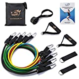 Fit Simplify Resistance Band Set 12 Pieces with Exercise Tube Bands, Door Anchor, Ankle Straps, Carry Bag and Instruction Booklet - Bonus Ebook and Online Workout Videos