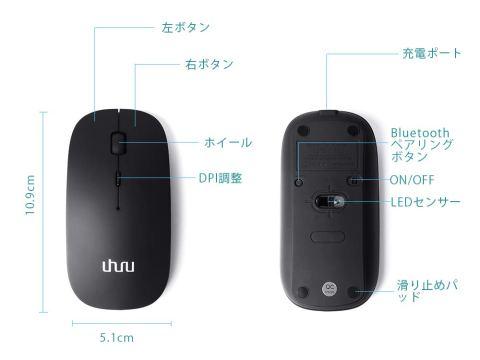 UHURU Bluetoothマウス 3.0 各部名称