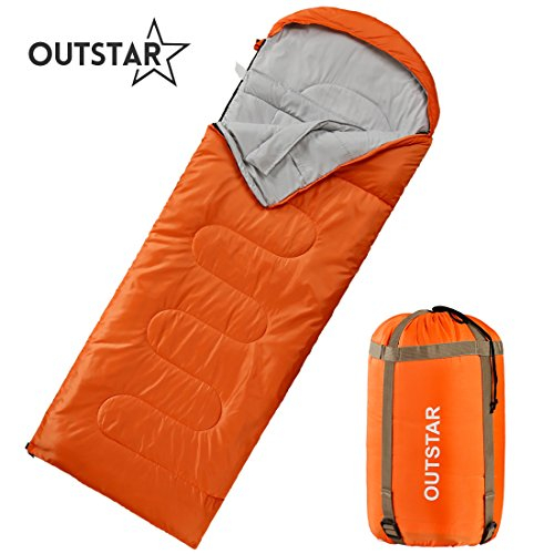 OUTSTAR Lightweight Waterproof Envelope Sleeping Bag with Compression Sack for Kids,Boys, Girls, Teens & Adults. Indoor &Outdoor Camping, Travelling, Hiking & Backpacking.Red