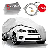 KAKIT 5 Layers Car Cover SUV Cover - Waterproof Windproof Cover for Indoor Outdoor, Rain, Dust, Ice, Sun All Weather Cover for Car, Windproof Ribbon & Anti-theft Lock, Fits 203'-210' SUV