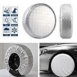 VIEFIN Set of 4 Wheel Tire Covers, Waterproof UV Sun Aluminum Film Tire Protectors for RV, Trailer, fit 30' to 32' Tire Diameter of Truck, Jeep, Camper, Van, Auto Car