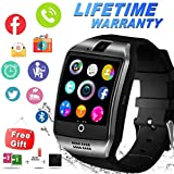 Bluetooth Smart Watch with Camera Sim Card Slot Touch Screen Smartwatch Unlocked Cell Phone Watch Sports Smart Wrist Watch for Android Phones Samsung Sony iOS (Black)