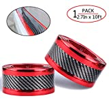 Universal Car Door Entry Sill Guard Scuff Plate Protectors -Carbon Fiber Rubber Front Rear Guard Bumper Seal Strip, Pedal Protect, Anti-Kick Scratch for Cars Doors (width7CM long3M, Red)