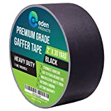 Real Premium Grade Gaffer Tape 2' X 30 Yards by EdenProducts, Strongest On The Market, Residue Free, Heavy Duty Non-Reflective Matte Finish Gaff Tape, Outdoor & Indoor - Black (More Colors Available)