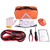 NoOne Car Emergency kit, Multifunctional Roadside Assistance Emergency kit- First Aid Kit, Jumper Cables, Orange Strong Bag, Tools and More. Ideal Winter Emergency Kit for Your Car, Truck Or SUV