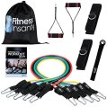 Fitness Insanity Resistance Band Set - Include 5 Stackable Exercise Bands with Waterproof Carrying Case, Door Anchor Attachment, Legs Ankle...