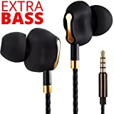 Premium Dual Driver Earbuds - Heavy Extra Bass Earbuds with Microphone - Best Womens Wired Earbuds with Bluetooth Receiver - Corded Earbuds w/ Extension Cord - Wired Earbuds for Men Women Teens Black
