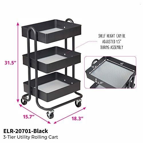 ECR4Kids 3-Tier Metal Rolling Utility Cart – Heavy Duty Mobile Storage Organizer, Black deal 50% off 51VCeoXCSyL
