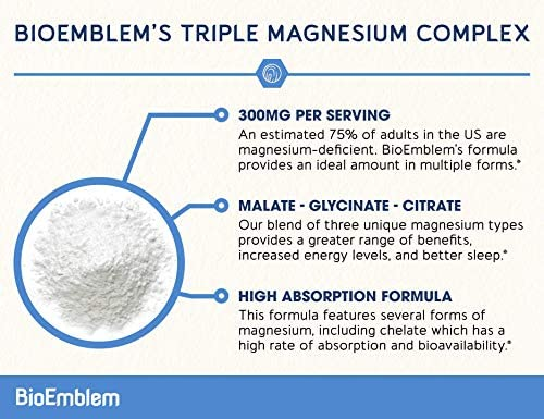 BioEmblem Triple Magnesium Complex | 300mg of Magnesium Glycinate, Malate, & Citrate for Muscle Relaxation, Sleep, Stress Relief, & Energy | High Absorption | Vegan, Non-GMO | 90 Capsules 3