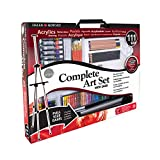 Daler Rowney Complete 111-Piece Art Set with Full-Size Easel, Includes Paints, Brushes, Pencils, Oil Pastels, Palettes, Canvas and More in a Large Carrying Case, 196500600