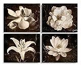 Garden Journal I Beautiful Sepia White Flowers Against a Script Backdrop; Floral Decor; Four 14X11 Poster Prints