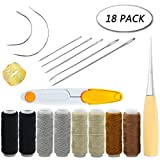 HOWIN Upholstery Repair Kit, 18 Pieces Upholstery Thread Assorted Hand Sewing Needles Carpet Leather Canvas DIY Tool Set