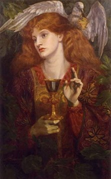 "Amazon.com: The Damsel of The Sanct Grael by Dante Gabriel Rossetti - 18"" x  27"" Premium Canvas Print: Posters & Prints"