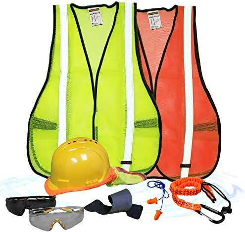 KwikSafety (Charlotte, NC) TURTLE SHELL VEST KIT (10 Vents) Normal Cap ANSI Laborious Hat, Security Glasses, Vests, Instrument Lanyard, Sunshade, Sweatbands, Earplugs Building Gear, Type1, Class C, YELLOW