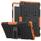 Maomi Amazon Fire 8 (2017/2018 Release) Case,[Kickstand Feature],Shock-Absorption/High Impact Resistant Heavy Duty Armor Defender Case for Kindle fire HD 8 7th/8th (Orange)