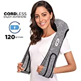 Cordless Back and Neck Massagers with Heat Gift - Portable Deep Kneading Massage for Shoulder- Rechargeable Hands Free Massager Shiatsu Automated Programs - Home, Car, Office