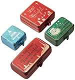 Creative Co-op Set of 4 Metal Christmas Boxes with Individual Sayings