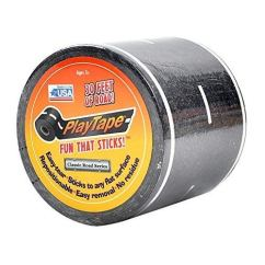 PlayTape-Black-Road-Road-Car-Tape-Great-for-Kids-Sticker-Roll-for-Cars-Track-and-Train-Sets-Stick-to-Floors-and-Walls-Quick-Cleanup-Children-Toys-30-Inch-by-2-Inch-Pack-of-1-Black