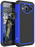 J3 Case, Express Prime Case, Amp Prime Case, LK [Shock Absorption] Hybrid Armor Defender Protective Case Cover for Samsung Galaxy J3 / Express Prime/Amp Prime (Blue)