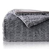 Bedsure Faux Fur Reversible Fleece Blanket - Super Soft Fuzzy Lightweight Blanket for Couch Chair Sofa and Bed(Twin 60 x 80 inches, Grey)