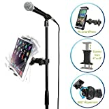 AccessoryBasics EasyAdjust cymbal Microphone Mic Stand Tablet Mount for Apple iPad PRO Air Mini Samsung Galaxy Tab Surface Pro/Book & iPhone XR XS MAX X 8 7 Plus 6S Galaxy S9 Note LG V30 Smartphones