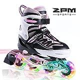 2PM SPORTS Cytia Pink Girls Adjustable Illuminating Inline Skates with Light up Wheels, Fun Flashing Beginner Roller Skates for Kids - Medium(US Y13-3)