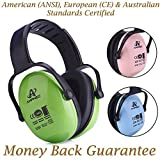 Hearing Protection Earmuff/Headphone for Toddler, Kids, Teen, Young Adult. Amplim Noise Reduction Headphones, Sound Canceling Earmuffs Ear Defenders - Airplane, Concert, Outdoor, Lawn Mower - Green