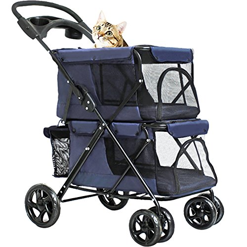 WINGOFFLY Double-Deck 4 Wheels Pet Dogs Cats Stroller with Cup Holder(Navy Blue)