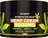 Hemp Cream for Pain Relief and Inflammation - 5000 Mg - Made in USA - Recover Arthritis, Muscle Strain, Stiff Joints, Achy Hands, Knees, and Fingers - with MSM - EMU Oil - Arnica - Turmeric - 4 oz