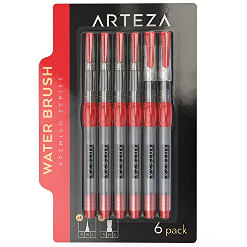 Arteza Water Brush Pens - Self-moistening - Portable (Assorted Tips, Set of 6)