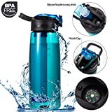 DoBrass Water Bottle with Filter for Hiking, Travelling, Camping, at Home and Daily Use | Leakproof and BPA Free