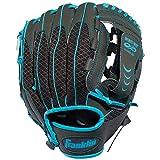 Franklin Sports Teeball Infinite Web/Shok-Sorb Combo Series Fielding Left Hand Glove, 10.5-Inch, Graphite/Blue