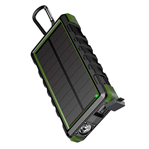 EasyAcc 24000mAh Solar Power Bank Rugged Waterproof Portable Charger with 6A Dual Input and QC Output - Black and Green