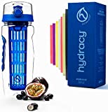 Hydracy Fruit Infuser Water Bottle - 32 Oz Sports Bottle with Full Length Infusion Rod, Time Mark and Insulating Sleeve Combo Set + 27 Fruit Infused Water Recipes eBook Gift - Azure Blue