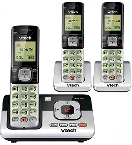 VTech CS6829-3 3-Handset Cordless Phone System with Caller ID/Call Waiting, DECT 6.0 Digital Technology, Digital Answering System, Caller ID/Call Qaiting—stores 50 Calls, Volume Control