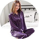 Silk Pajamas for Women Autumn Pajamas Set Women Silk Nightwear Set Pijamas,Purple,XXL
