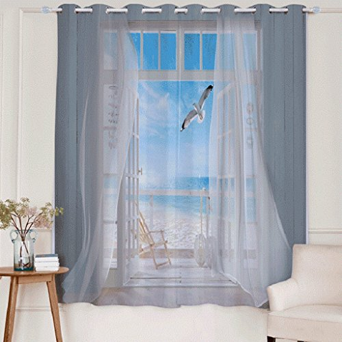 Artextile Blackout Curtain Panels 3D Outdoor Seagull Printed Space Decorative Window Treatment Drapes for Living Room Bedroom Decor, 2 Panel, 63L x 106W Inch
