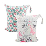 ALVABABY 2pcs Cloth Diaper Wet/Dry Bags |Waterproof Reusable with Two Zippered Pockets|Travel, Beach, Pool, Daycare, Soiled Baby Items,Yoga,Gym Bag for Swimsuits or Wet Clothes L5166