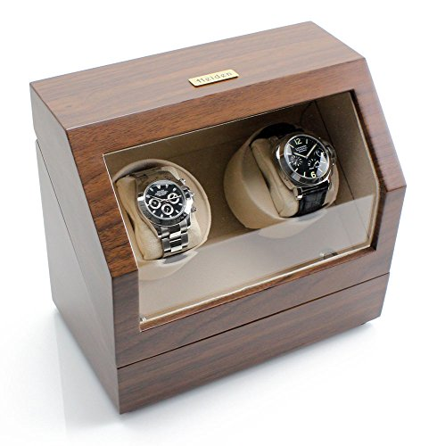Heiden Battery Powered Double Watch Winder in Walnut
