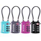 TSA Approved 3 Digit Luggage Cable Locks, Small Combination Padlock Ideal for Travel - Added Security for Suitcases and Backpacks- 1, 2 & 4 Pack (ALL COLOUR) ...