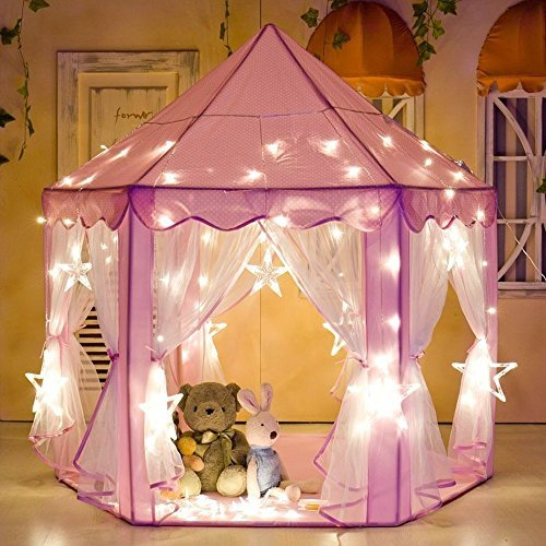 Porpora Kids Indoor/Outdoor Princess Castle Play Tent Fairy Princess Portable Fun Perfect Hexagon Large Playhouse Toys for Girls,Boys,Childrens Gift/Present Extra Large Room 55'x 53'(DxH) PINK LED