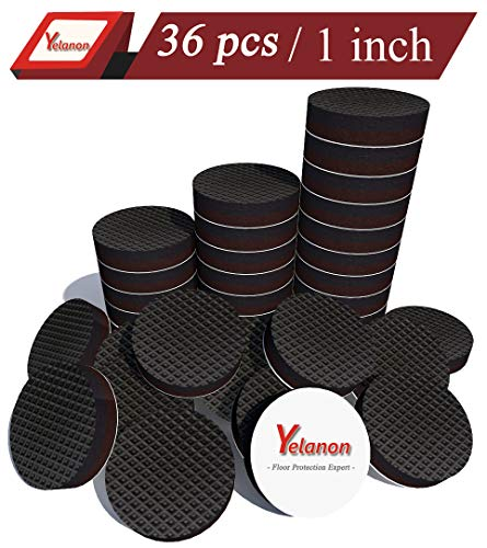 Yelanon Non Slip Furniture Pads 36 pcs 1' Anti Skid Furniture Pads Stopper Self Adhesive Rubber Feet Furniture Pads Wood Floor Protector for Furniture Grippers on Hardwood Floor - Protectors Chair Leg