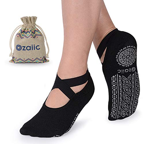 Yoga Socks for Women Non-Slip Grips & Straps, Ideal for Pilates, Pure Barre, Ballet, Dance, Barefoot Workout (Black, One size)
