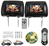 Rockville RDP711-BK 7' Black Car Headrest Monitors w/DVD Player/USB/HDMI+Games