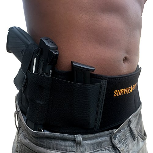Belly Band Holster | Concealed Carry Holster for Women and Men, Tactical Gun Holster Fits and Conceals All Subcompact Compact and Full Size Pistols, Elastic Conceal Carry Belt, Neoprene, IWB, OWB