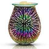 QUSUP 3D Glass Electric Wax Melt Warmer Candle Warmer Wax Burner Melter Fragrance Warmer for Home Office Bedroom Living Room Gifts & Decor (3D Fireworks)