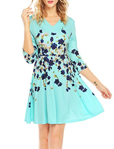 ACEVOG Womens Floral Print Flare 3/4 Sleeve Vintage Mini Swing Dress Light Blue,S