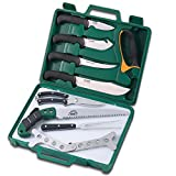 Outdoor Edge Game Processor, PR-1, Home Processing Butcher Knife and Cleaning Kit with Hard-side Carry Case (12 Piece)