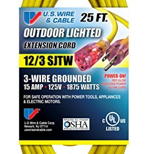 US Wire 74025 12/3 25-Foot SJTW Yellow Heavy Duty Lighted Plug Extension Cord